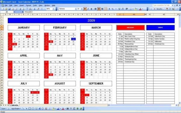 Calendar Schedules Template