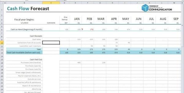 Cash Flow Excel Template Personal