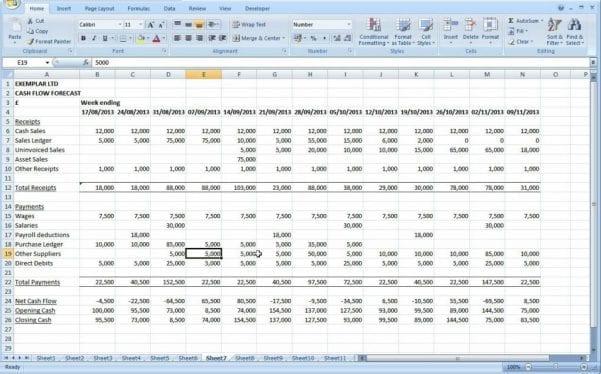 Cash Flow Excel Template Uk