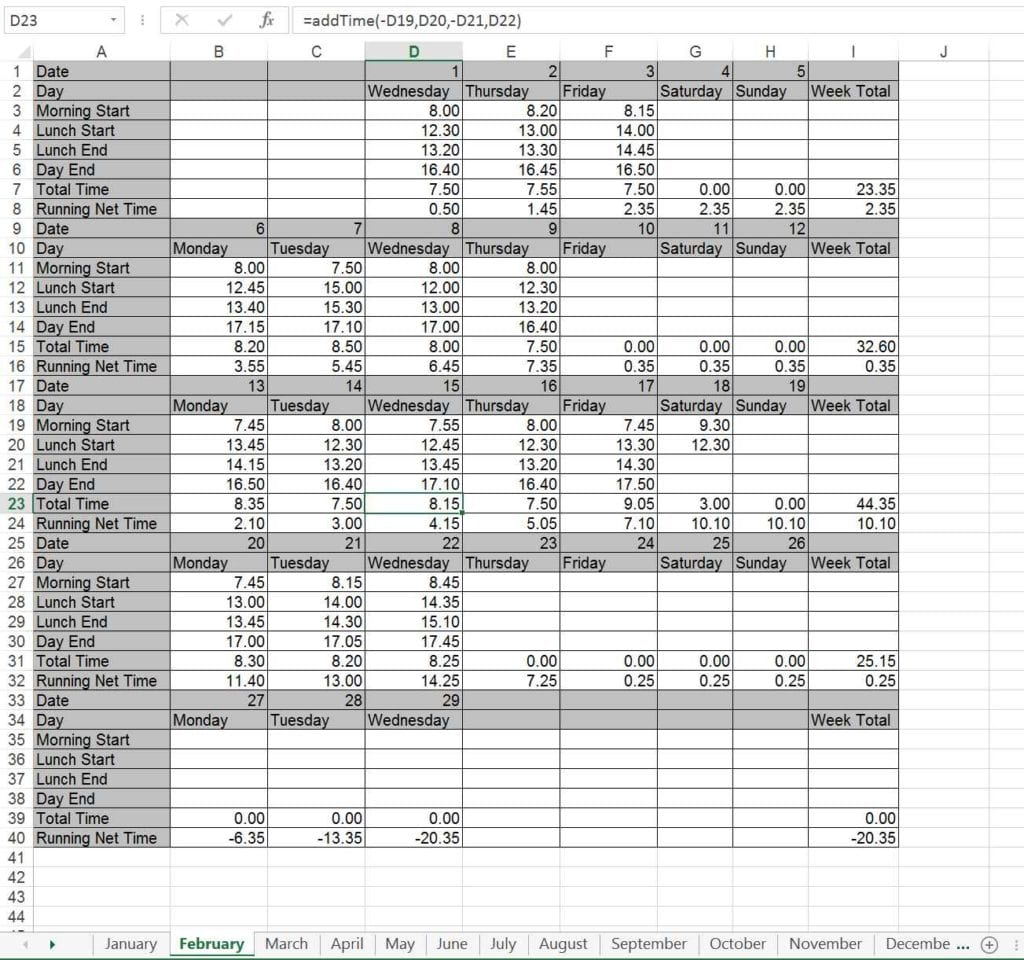 Cash Flow Spreadsheet