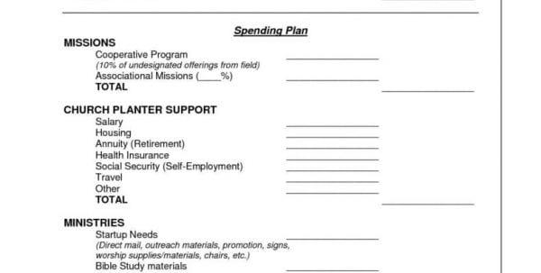 Church Budget Worksheet