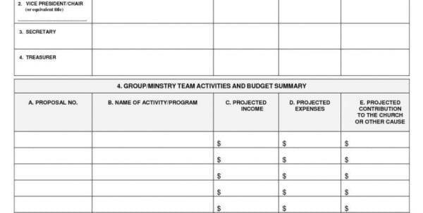Church Ministry Budget Forms