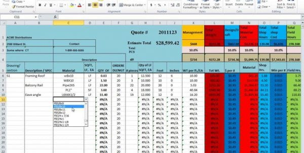 Construction Estimate Spreadsheet Template Free