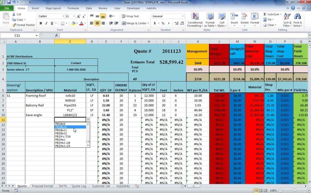 Construction Estimate Spreadsheet Template Free