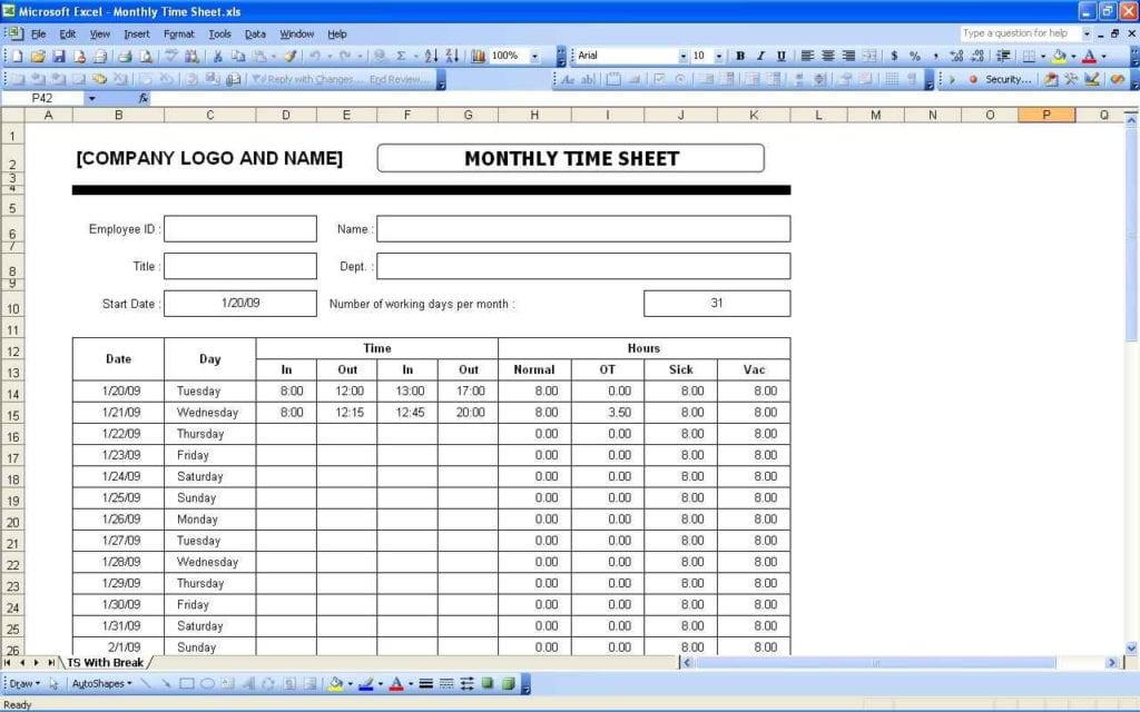 Contractor Timesheet Templatels