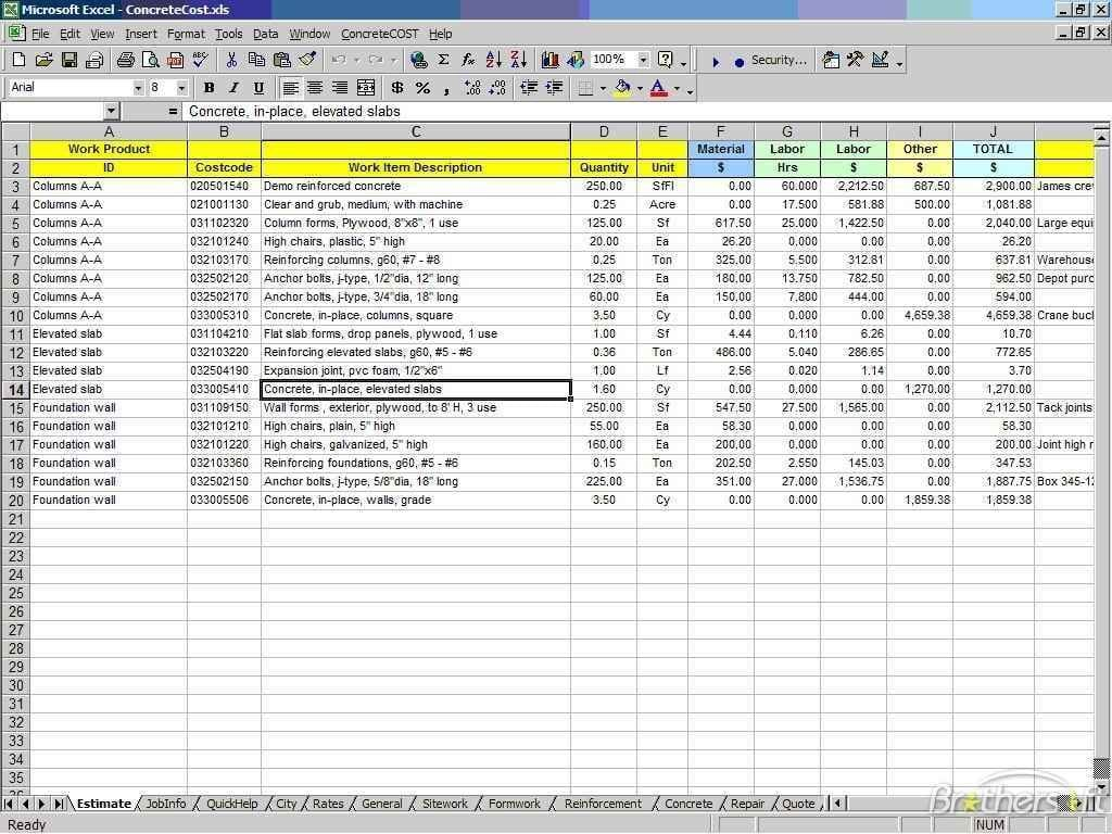 Cost Estimate Spreadsheet Excel