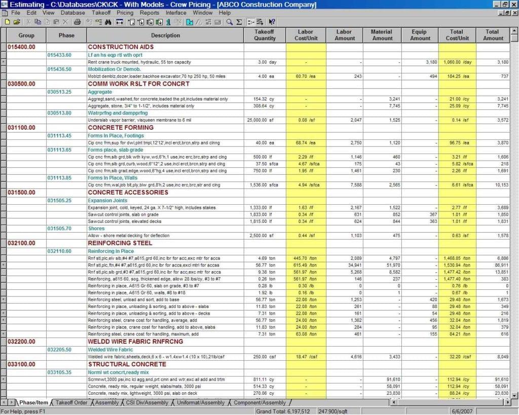 Cost Estimate Spreadsheet Template 2
