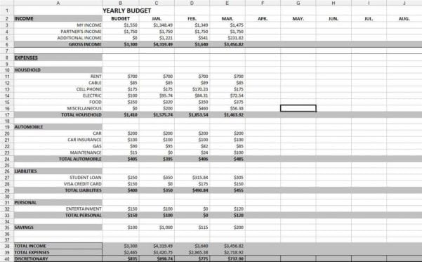 Cost Spreadsheet Template