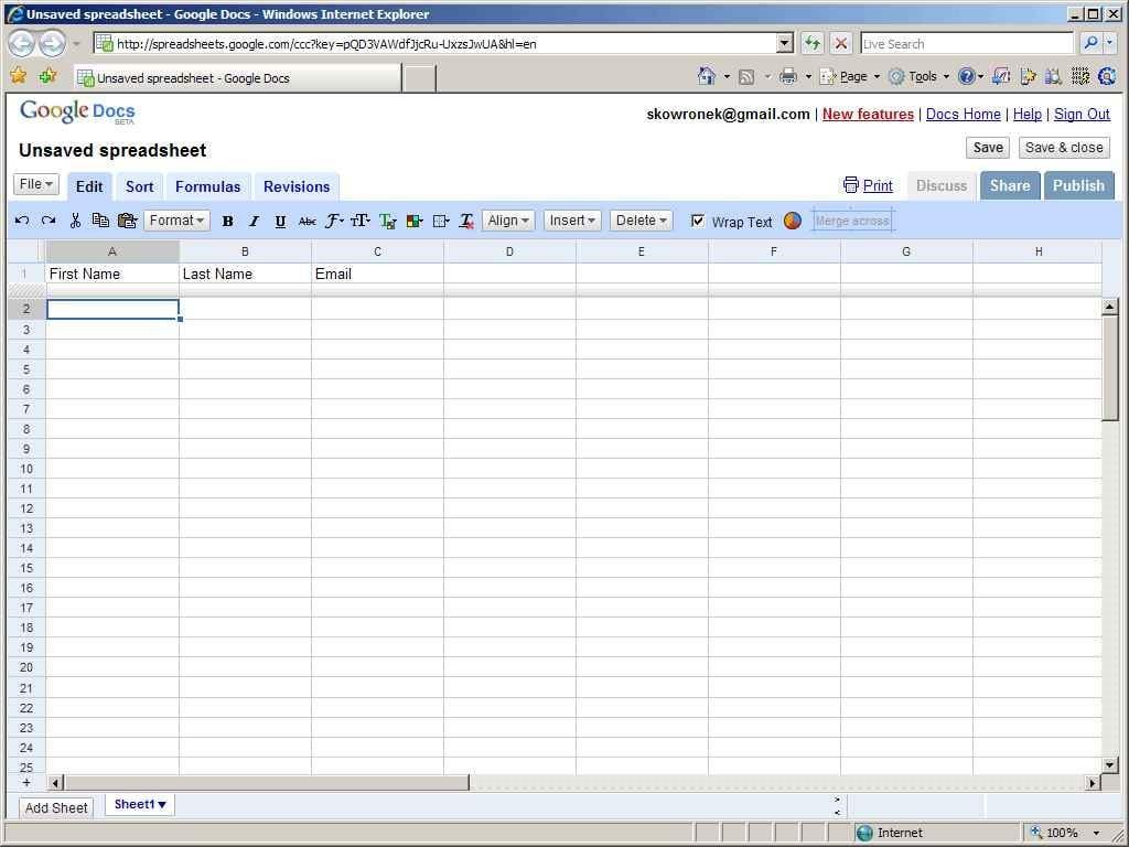 Create A Google Spreadsheet Form