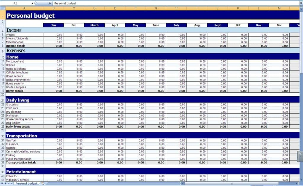 Crown Financial Budget Sheet