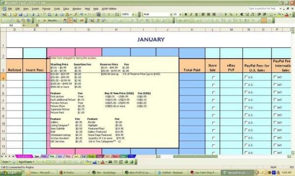 Ebay Accounting Spreadsheet1