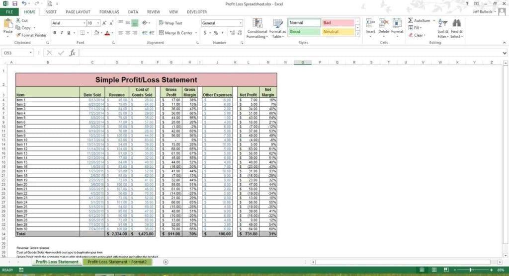 Ebay Profit Spreadsheet Template