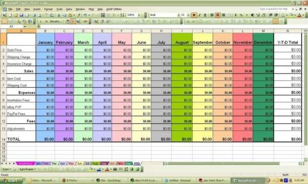 Ebay Sales Spreadsheet