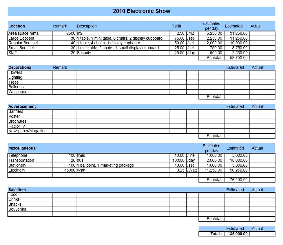 Event Budget Sheet Template