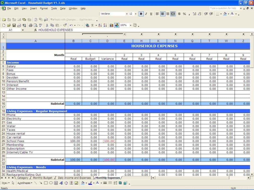 Example Budget Spreadsheet Excel 1