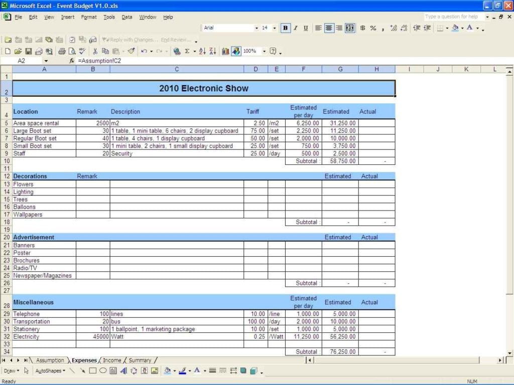 Example Budget Spreadsheet Excel