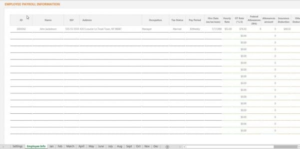 Example Of A Payroll Spreadsheet