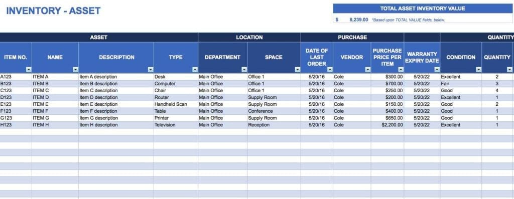 Excel Inventory Spreadsheet Templates Ebay