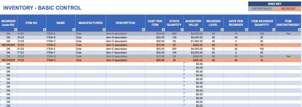 Excel Inventory Spreadsheet Templates