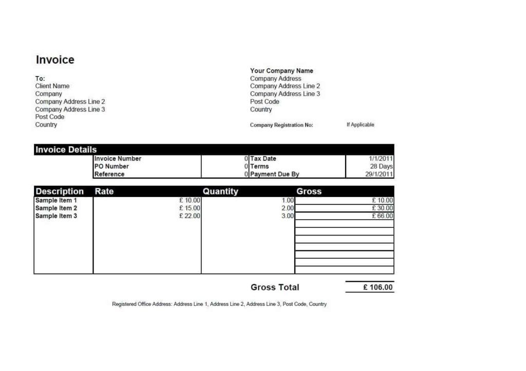 Excel Invoice Template Uk