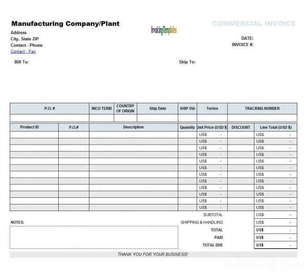 Excel Invoice Templates Free Download
