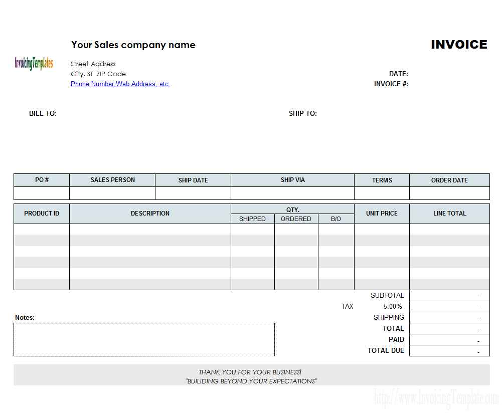 Excel Sheet Invoice Template