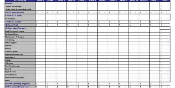 Excel Sheet Template For Small Business
