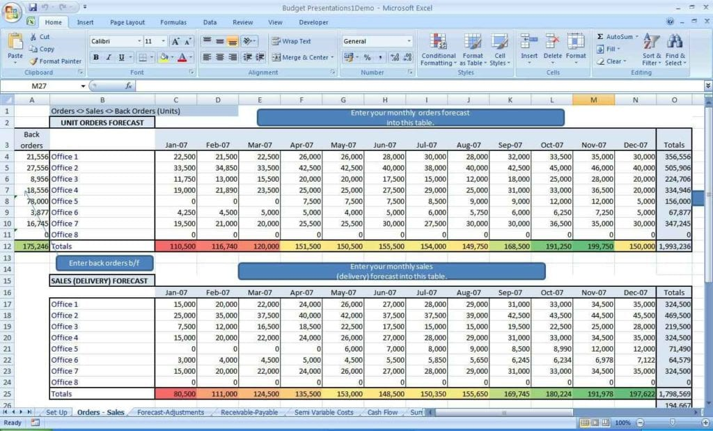 Excel Spreadsheet Budget Example 1