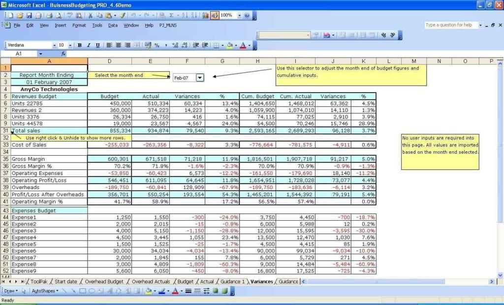 Excel Spreadsheet Budget Planner Template 1