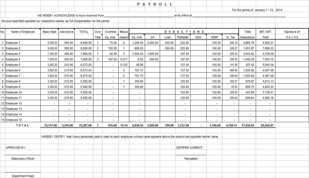 Excel Spreadsheet For Business Income And Expenses 1