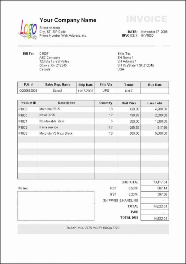 Excel Spreadsheet For Invoice Tracking