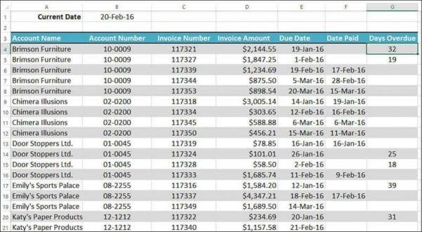 Excel Spreadsheet Formulas For Dates