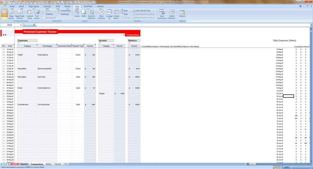 Excel Spreadsheet Template For Personal Expenses