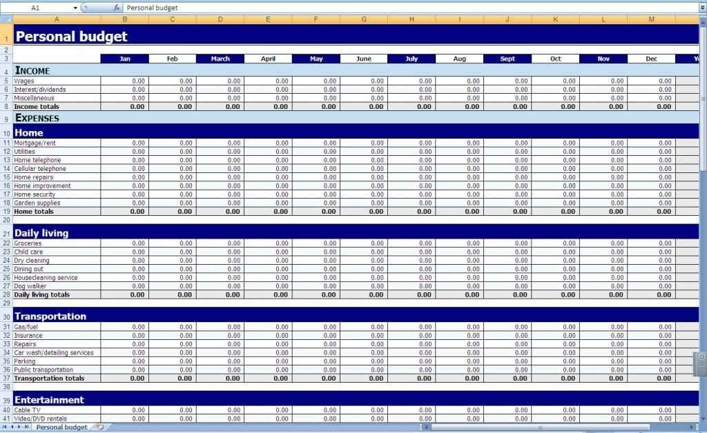 Excel Spreadsheet Templates Download