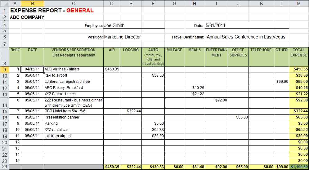 Excel Spreadsheet Templates For Restaurants
