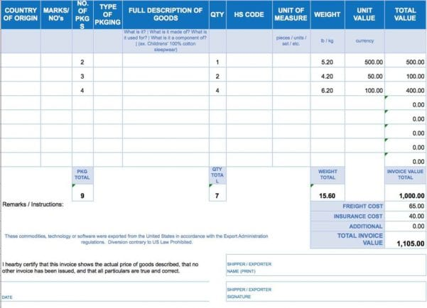 Excel Template Invoice