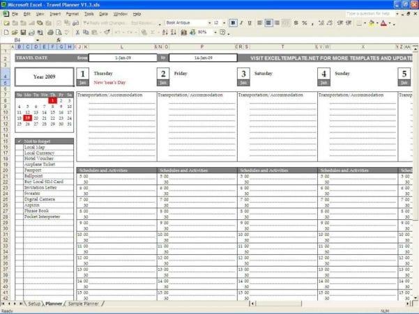 Excel Template Weekly Schedule