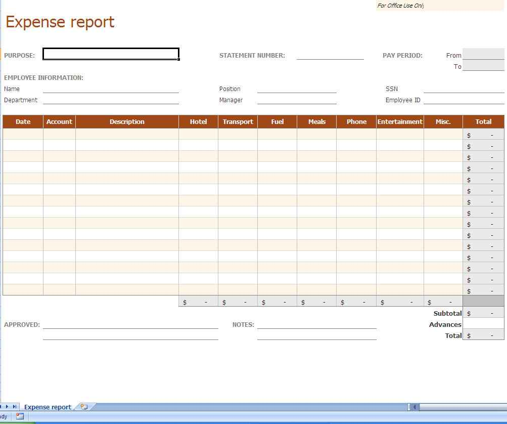 Excel Templates For Expenses In Business
