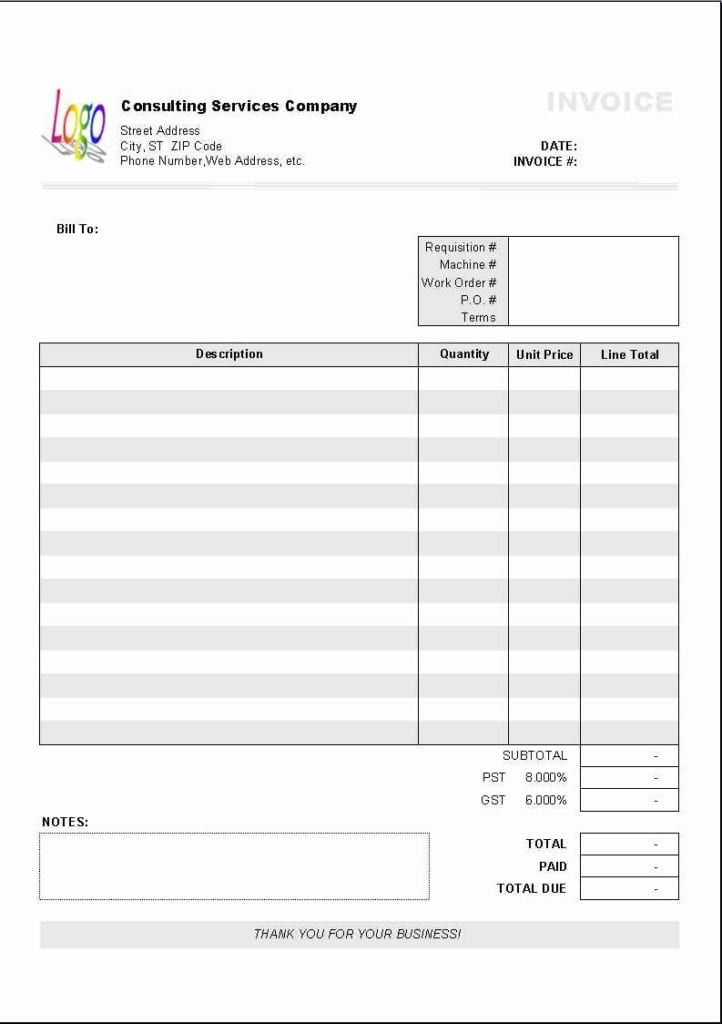 Excel Templates For Invoices