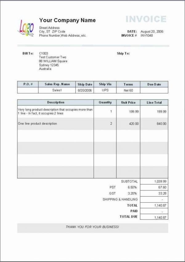 Excel Templates Invoice