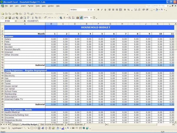 Family Budget Spreadsheet Template