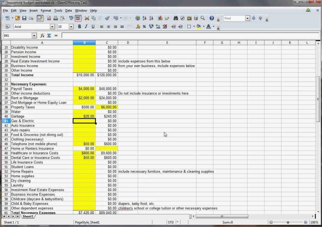 Family Budget Spreadsheet Uk