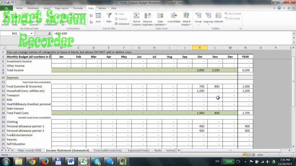 Family Budget Spreadsheet