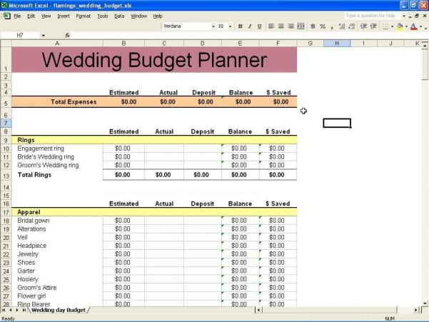 Financial Planner Spreadsheet Template