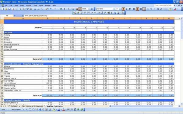 Financial Spreadsheet Example