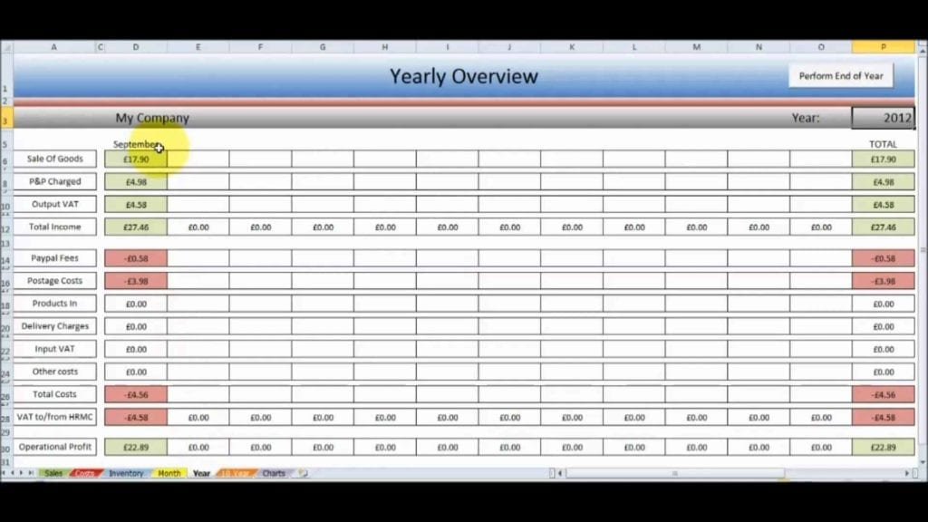 Free Bookkeeping Spreadsheet Template Uk