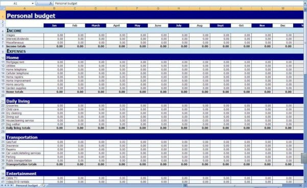 Free Excel Budget Template Spreadsheet