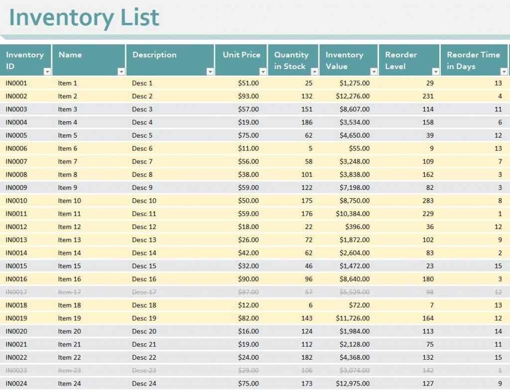 Free Mary Kay Inventory Spreadsheet