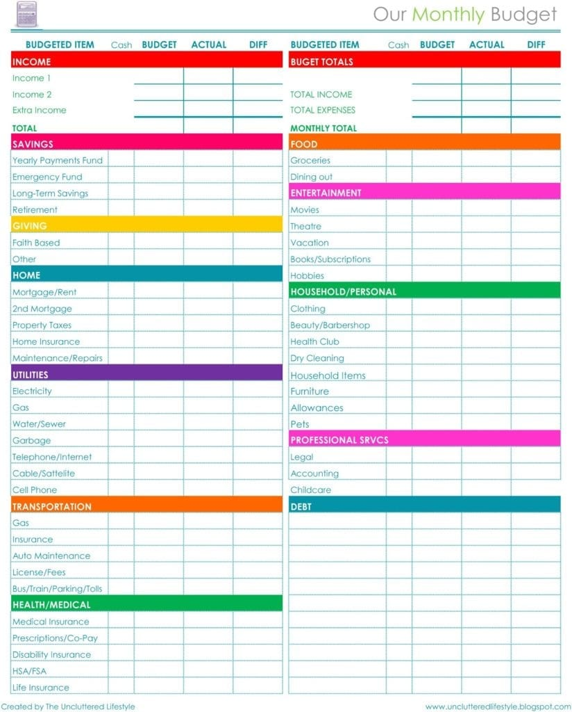 Free Monthly Budget Templates Printable