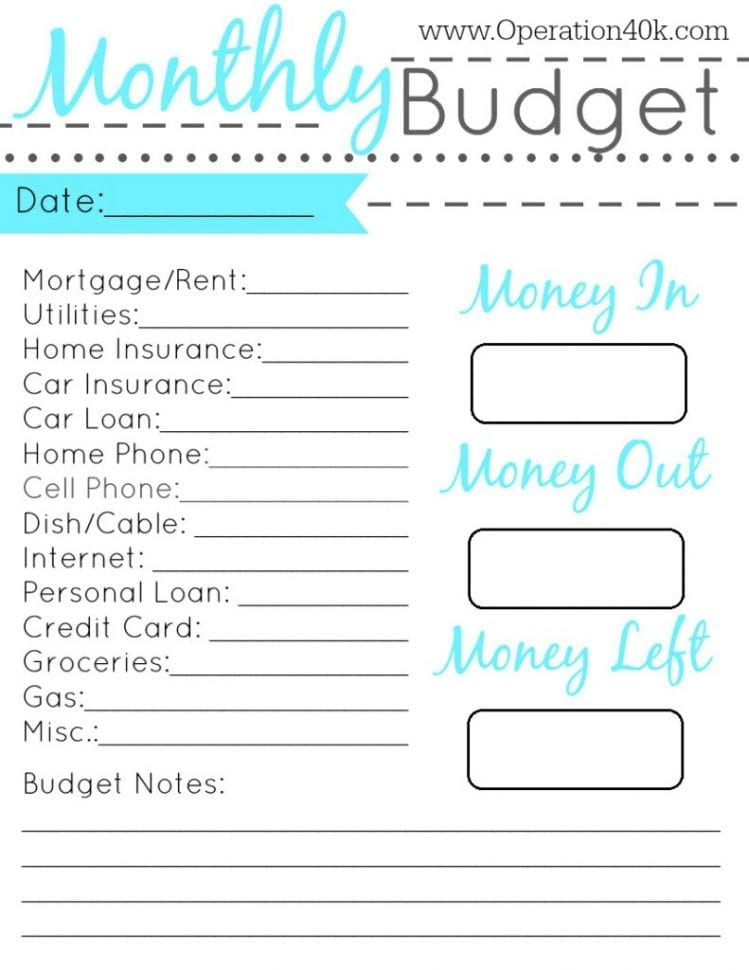 Free Personal Monthly Budget Spreadsheet Template